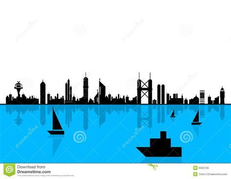 City Skyline In Silhouette Royalty Free Stock Photos