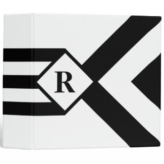 Black Stripes and Chevrons with Monogram on White Binders