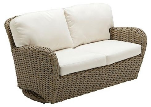 Sunset Deep Seating Outdoor Loveseat Outdoor Glider with Cushions ...