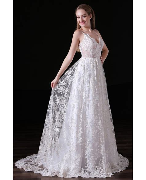 Ball gown V neck Sweep Train Lace Wedding Dress With Open