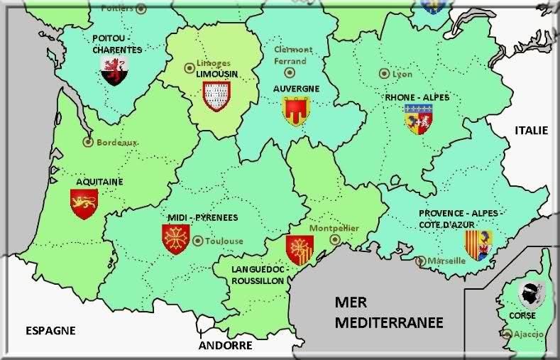 Carte Des Regions Du Sudla Provencele Sud De La France