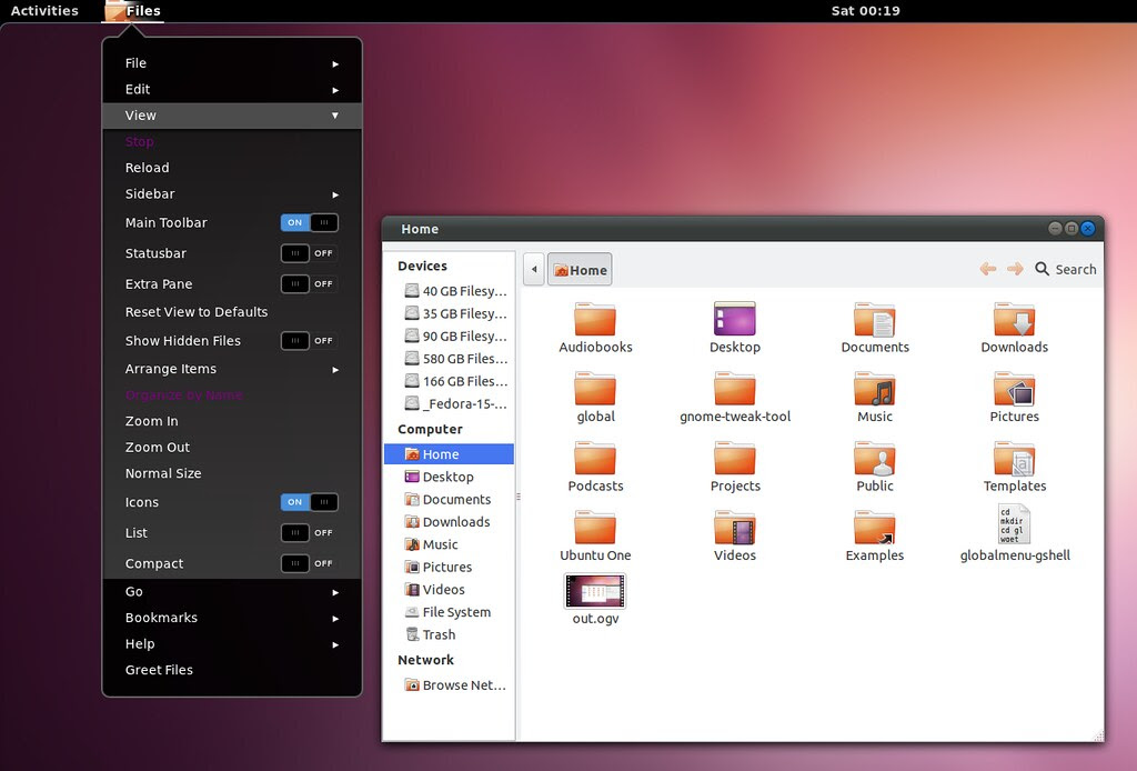 gnome shell global menu
