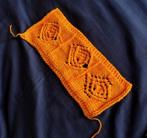Mackintosh Rose gauge tension swatch lace orange stitch pattern creation