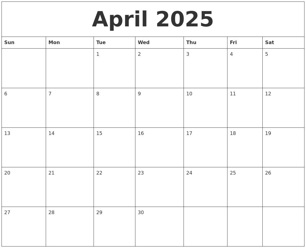 april 2025 print blank calendar