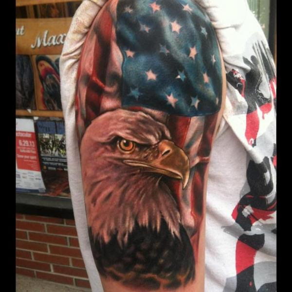 Bold Eagle And American Flag Tattoo Best Tattoo Ideas Gallery