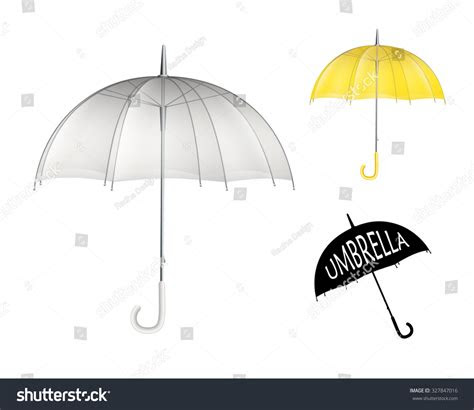 set  clear plastic rain umbrellas stock vector