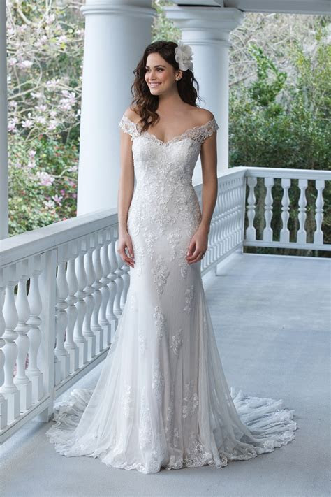 Off the Shoulder Lace Gown with Open Back Sincerity Bridal