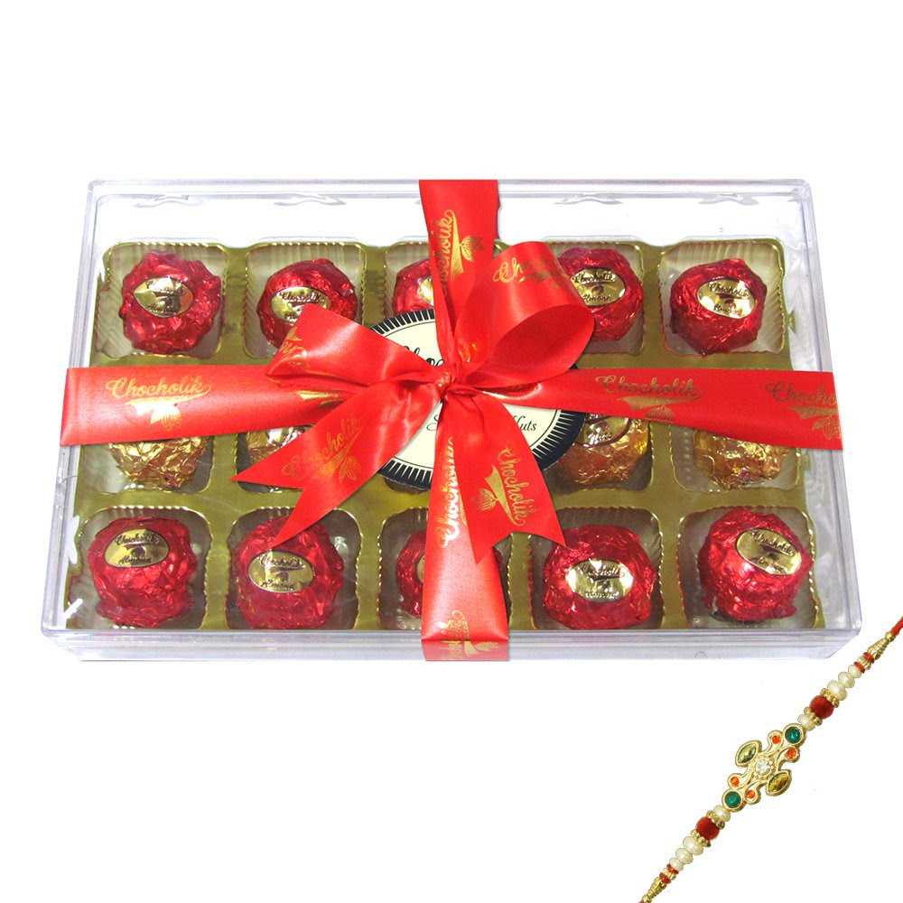 DEALS on Rakhi Gifts - Traditional Sparking Chocolate Box With Rakhi - Chocholik Luxury Chocolates