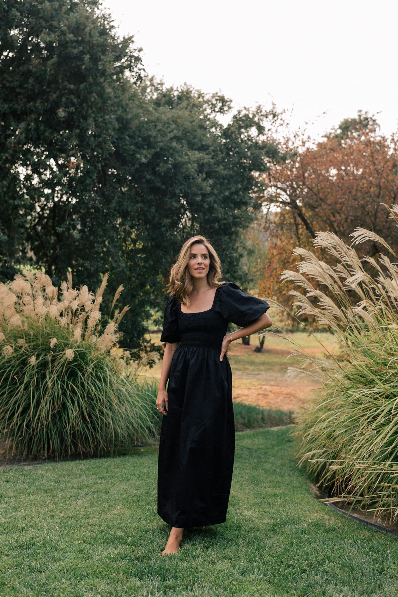 black puff sleeved dress