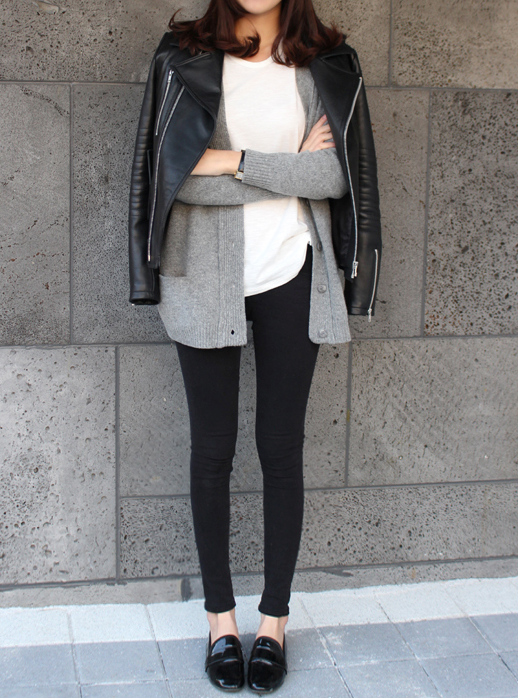 Le Fashion Blog Weekend Style Inspiration Casual Leather Jacket Grey Cardigan Sweater Skinny Jeans Patent Loafers Via Death By Elocution photo Le-Fashion-Blog-Weekend-Style-Inspiration-Casual-Leather-Jacket-Grey-Cardigan-Sweater-Skinny-Jeans-Patent-Loafers-Via-Death-By-Elocution.png