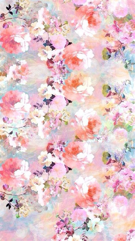 pink blue lilac watercolour vintage floral roses iphone