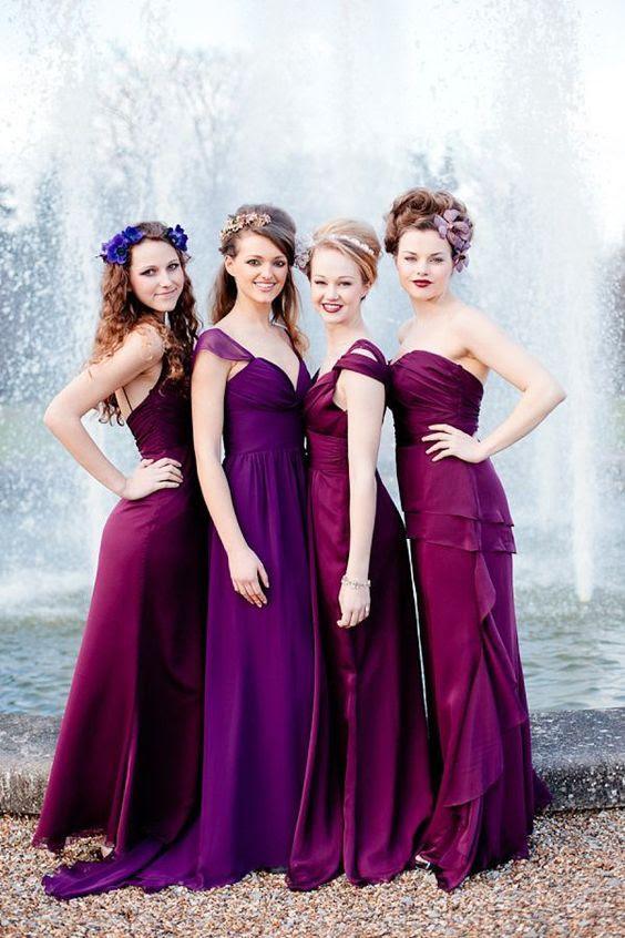 lila und fuchsia nicht übereinstimmende Brautjungfern Kleider