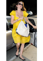 Angelina Jolie carrying Anya Hindmarch tote