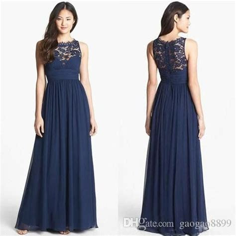 Dark Navy Blue Wedding Guest Bridesmaid Dresses Lace