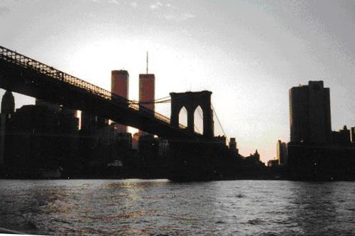 WTC and Brooklyn Bridge, East River by bkfrogma