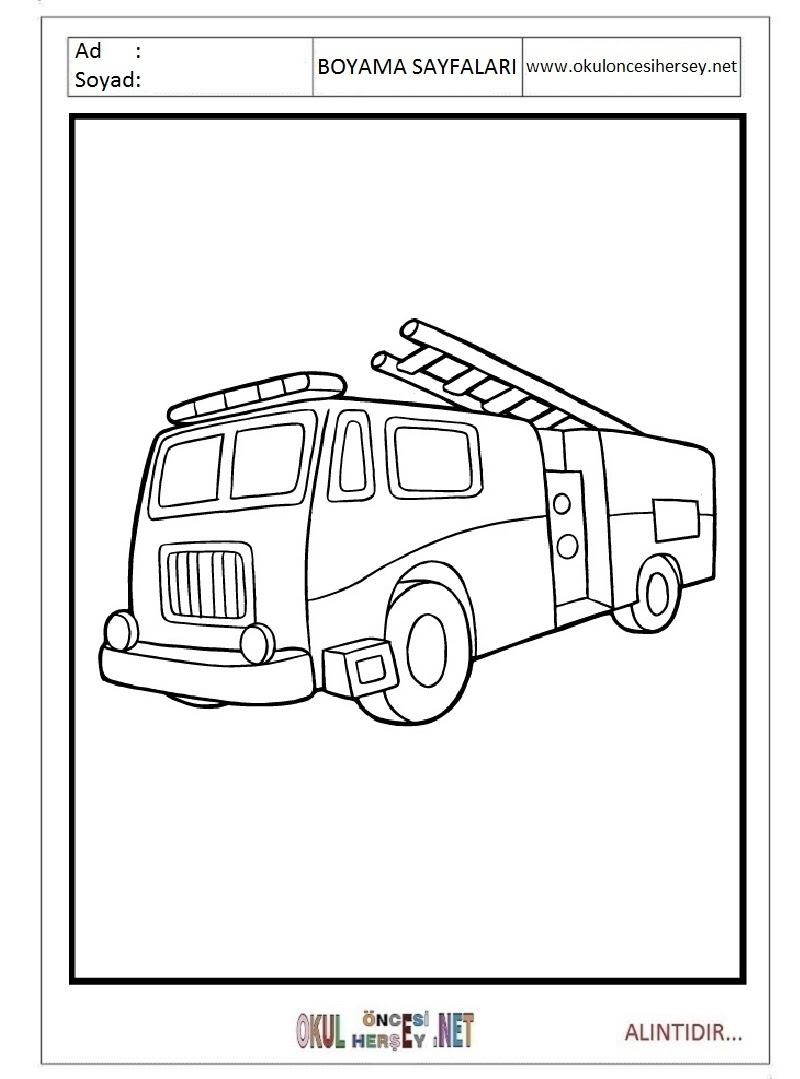 Itfaiye Arabası Boyama Sayfaları