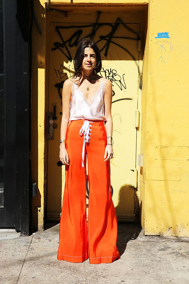 Le Fashion Blog Leandra Medine Man Repeller Spring Orange Palazzo Pants Silk Cami Via Man Repeller