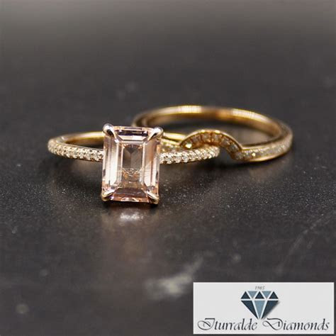 Emerald Cut Morganite Engagement Ring Matching Curved