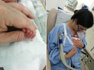 Montagem mostra detalhe da mão do recém-nascido e no colo da mãe, Carolina Procópio, em Jacareí, SP. (Foto: Divulgação/Hospital São Francisco)