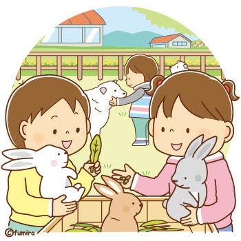 クリップアートどうぶつとふれあう子どもたちのイラスト 子供と動物