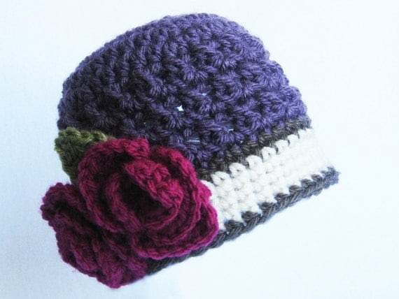 CROCHET PATTERN  Briar Rose Beanie (5 sizes included: newborn-adult) Permission to sell finished items