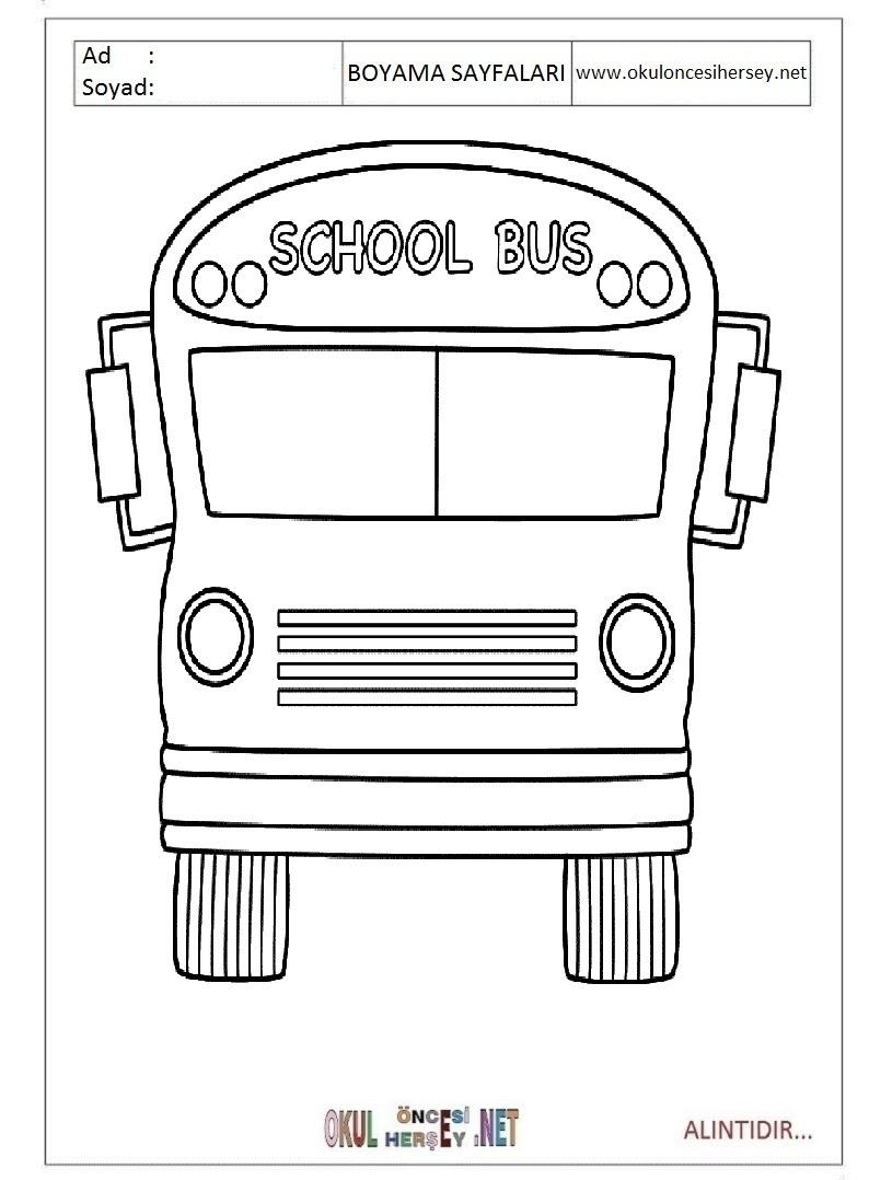 Okul Servisi Boyama Sayfaları