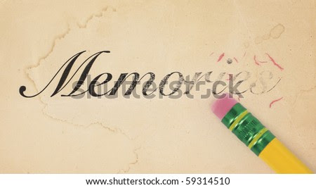 Close up of a yellow pencil erasing the word, 'memories' from old, yellowed paper - stock photo