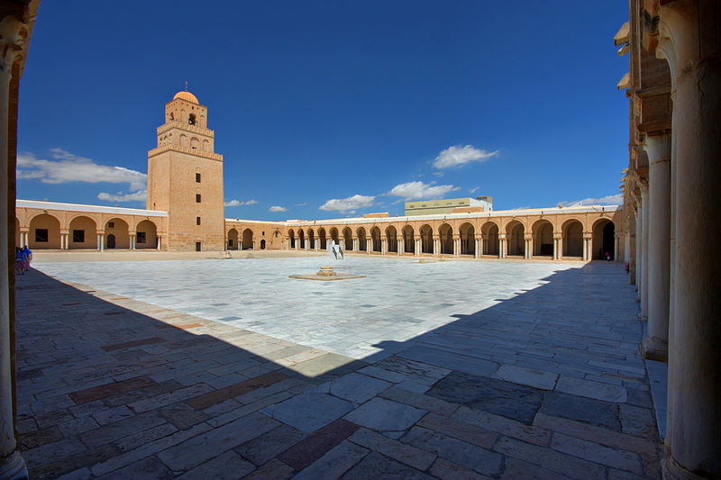 File:Overview of the courtyard of the Great Mosque of Kairouan.jpg