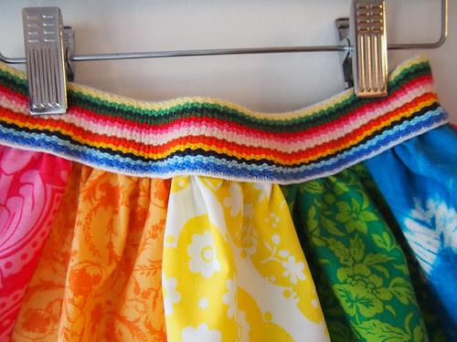 rainbow skirt waistband detail