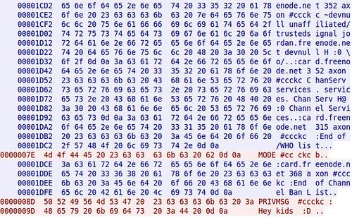 Hexdump showing cleartext IRC Chat