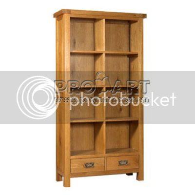 Giá sách gỗ sồi kiểu Vancouver 5 tầng, ngăn kéo đáy, 100x180cm, mẫu xuất khẩu Anh