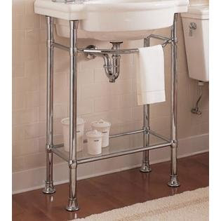 Chrome Console Sink With Glass Shelf from Sears.