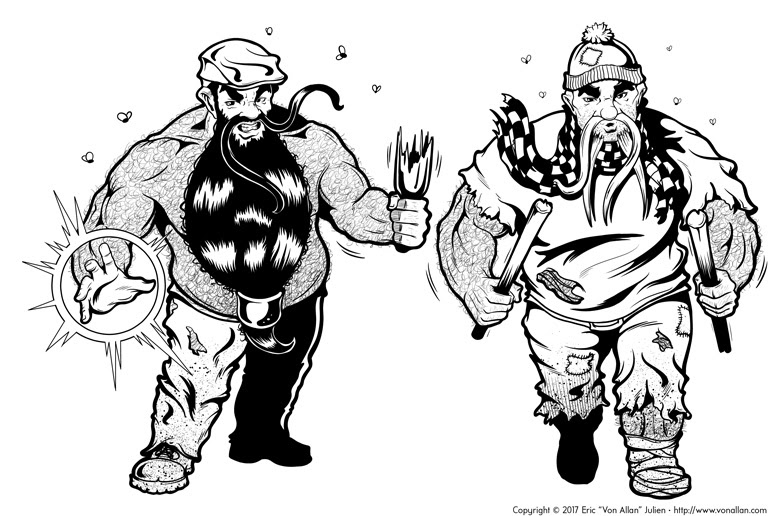 Inked Illustration of Two Dwarf Killerbeards by Von Allan