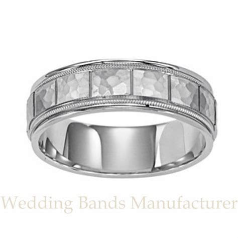 10K WHITE GOLD MENS MAN'S WEDDING BAND MILGRAIN EDGES
