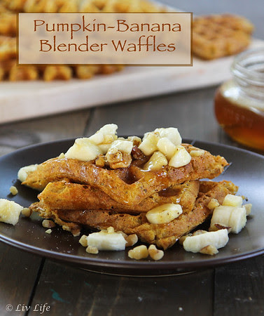 Vegan Pumpkin Banana Blender Waffles