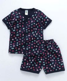 Cucumber Half Sleeves Night Suit Alphabet Print - Navy