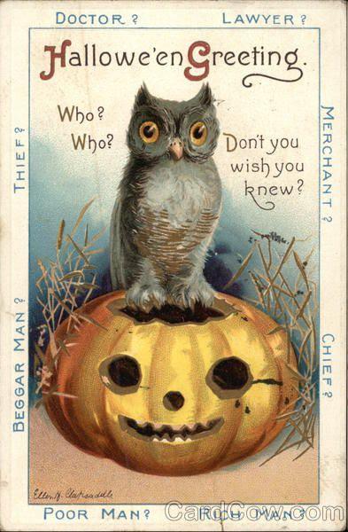 Vintage postcard/ Owl & Pumpkin