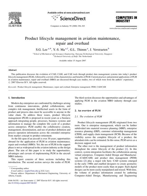 (PDF) Product lifecycle management in aviation maintenance