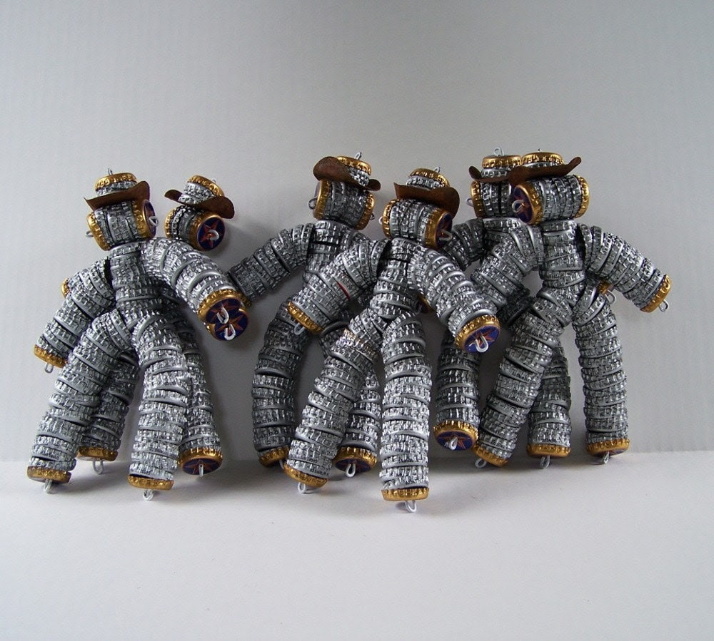 ROBOT Cowboys Handmade in Austin TEXAS from RECYCLED Bottlecaps