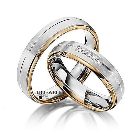 His and Hers Wedding Rings,10K Two Tone Gold Matching