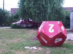 Pink Tank and Twelve Sided Die