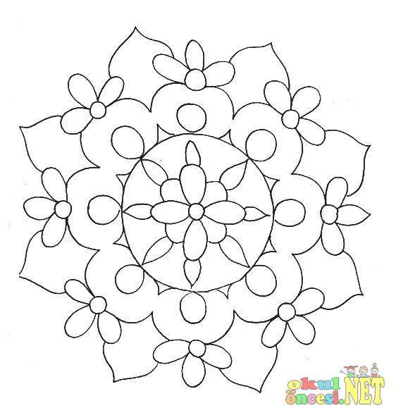 çiçek Mandala Boyama Sayfası