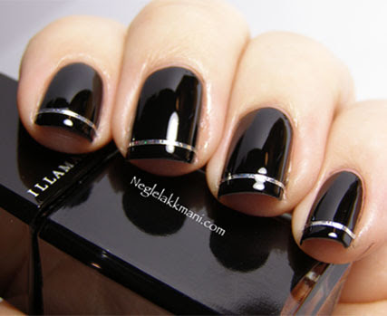 Holographic Striping Tape On Black Nail Art Manicure Simple Nail