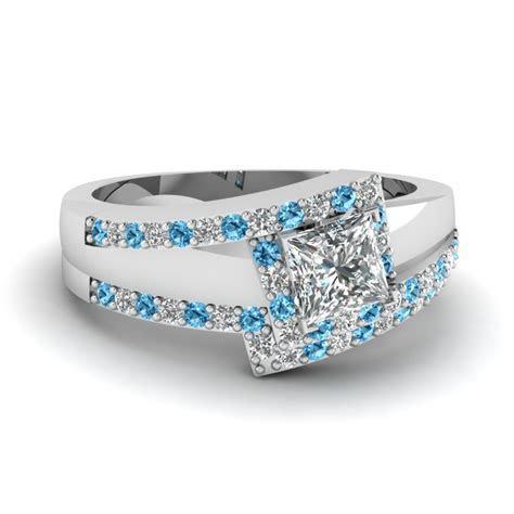 Crossover Princess Cut Halo Diamond Wedding Set With Blue
