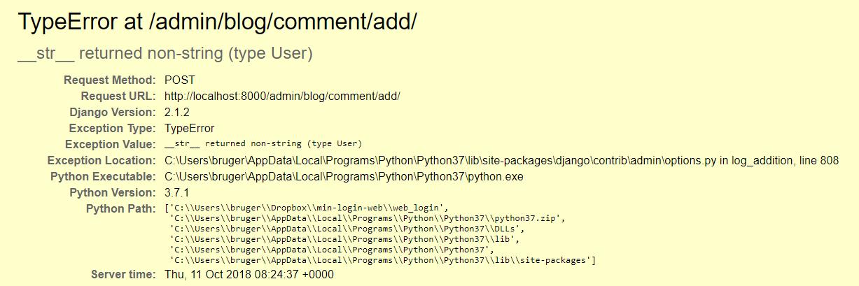Django Blog app (Error): __str__ returned non-string (type User