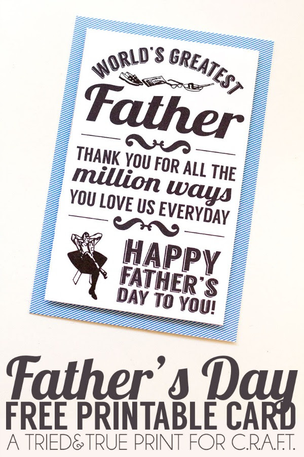 Printable Fathers Day Cards Craft