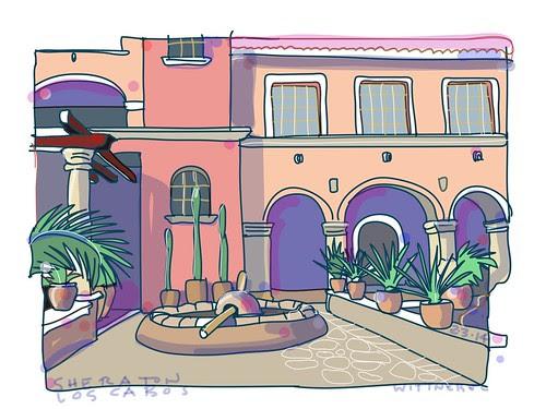 Courtyard, Los Cabos by douglaswittnebel