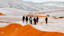 """Mandatory Credit: Photo by Geoff Robinson Photography/REX/Shutterstock (9309883af) Snow in the Sahara Desert near the town of Ain Sefra, Algeria Snow in the Sahara Desert - 07 Jan 2018 *Full story: https://www.rexfeatures.com/nanolink/tvw5 As much of the northern hemisphere sees record cold temperatures, the SAHARA Desert has been hit by SNOW for the second time in four decades. Photographers have taken incredible pictures of 40cm deep snow covering the sand in the small Saharan desert town of Ain Sefra after a freak winter storm yesterday (Sun). The town in the world's HOTTEST desert had not seen snow for 37 years when it arrived this time last year and locals were stunned when it began falling on the red sand dunes yesterday morning. Snow started falling in the early hours of Sunday morning and it quickly began settling on the sand. Photographer Karim Bouchetata said: """"We were really surprised when we woke up to see snow again. It stayed all day on Sunday and began melting at around 5pm."""""""