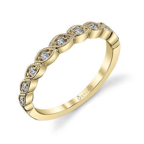 Fiona   Yellow Gold & Diamond Stackable Wedding Band