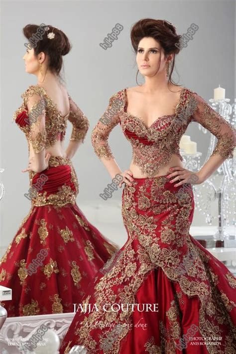 Red Formal Evening Dresses 2014 Arabic Jajja Couture
